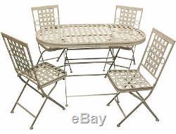 Woodside Pliant Extérieur De Jardin En Métal Patio Table À Manger Et 4 Chaises Set