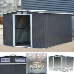 XXL 10 X 8ft Shed Hangar De Jardin En Métal De Stockage Extérieur + Fondation En Acier Lourd Gris