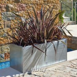 Zinc Metal Black Planter Plant Trough Garden Extérieur Grand Rectangulaire Intérieur